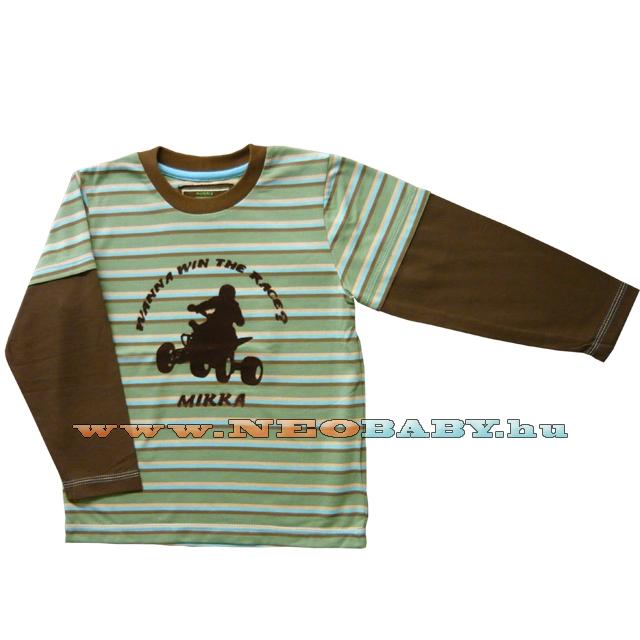 85d7ef9ba3 MIKKA hosszú ujjú póló fiú 98-104 Col.:quad csíkos - Ruházat és cipő ...