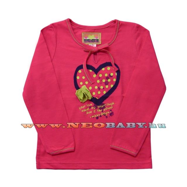 36cb8eb6d2 MIKKA hosszú ujjú póló lány 86-104 Col.:pöttyös szíves - Ruházat és ...