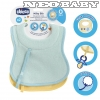 CHICCO  előke frottír cumitartó pánttal 2db-os CH0163002 light blue