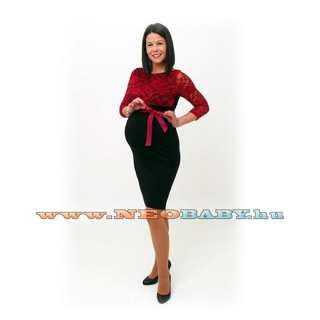 5ea147c0e R&D szűk vonalú kismama ruha (S) 01604/fekete bordó csipkével ...